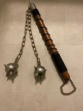 "Vintage Medieval Morning Spiked Two Steel Balls Chain Combat Weapon 18"" Long"