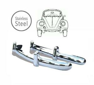 POLISHED STAINLESS STEEL EUROPEAN STYLE FRONT & REAR BEETLE BUMPERS 1955-1967