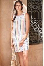 NEXT White pastel stripe Linen Shift Tunic Summer Sun Dress 10 BNWT