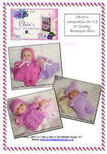 "*3* BABYDOLL HANDKNIT DESIGNS KNITTING PATTERNS CBWC2 FOR 5 & 8"" BERENGUER DOLLS"