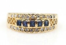 VINTAGE 14K YELLOW GOLD SAPPHIRE AND DIAMOND COCKTAIL RING SIZE 8- NR #333-7
