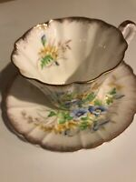 Vintage Gladstone Fine Bone China Teacup and Saucer Made in England Blue