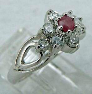 SWEET YOUNG LADIES Sterling Silver Estate NATURAL RUBY COCKTAIL RING size 5.25