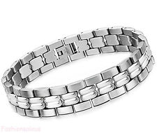 12MM Stainless Steel Link Charm Men's Bracelet Chain Wristband 8.7 Inch