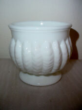 Vintage Milk Glass Vase Flower Pot