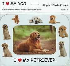 I Love(Heart) My Dog Magnetic Photo Frame & Magnet -Golden Retreiver(25)