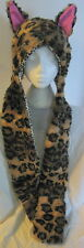 FAKE FUR FURRY BROWN LEOPARD PINK ANIMAL EARS HAT SNOOD SCARF MITTENS NEW
