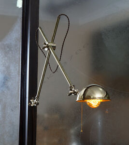 O.C. White Vintage Style Brass Boom Wall Lamp - Articulating Wall Mount Lamp