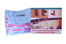 AQUA CLEAN Microfaser Reinigungstücher in Pünktchen-Design 8er Set
