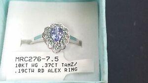 10kt White Gold Tanzanite and Alexandrite Ring sz 7.5