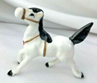 VINTAGE  MINIATURE BONE CHINA WHITE CIRCUS HORSE Hole for plume  with harness
