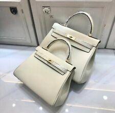 25cm 28cm Pebbled Italian Leather Kelly Bag Satchel Handbag Crossbody