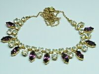 Lovely Vintage 1950s sparkly purpl & clear glass rhinestone gold tone necklace