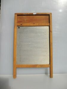 Vintage Wooden Washboard Galvanised Steel Iron Wood Clothes Washer Old