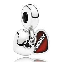 925 sterling silver Enamel MICKEY MINNIE HEART Dangle Charm