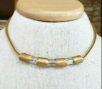Runway Gift Vintage Gold Tone Statement Choker Sweeping Curved Design Concave Back Smooth /& Textured Finish Chunky Middle Hook Clasp