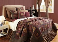 King Size Quilt Hand Stitched Log Cabin Patchwork Top Red Blue Cotton Millsboro