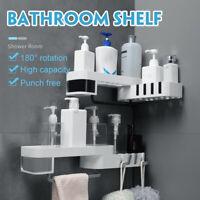 2 Tier Wall Shower Corner Pole Caddy Shelf Organizer Bathroom Bath Storage Rack