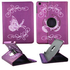 BUTTERFLY PURPLY FOLIO CASE IPAD MINI 1/2/ 3 360 ROTATING STAND TABLET COVER