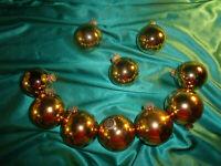 ~ 10 alte Christbaumkugeln Glas gold glänzend Vintage Weihnachtsbaumkugeln CBS ~