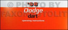 1968 Dodge Dart Owners Manual 68 270 GT GTS Owner Operators Guide Book