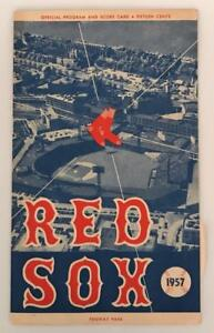 Rare 1957 Red Sox Game Program vs Detroit Ted Williams Piersall Malzone Unscored