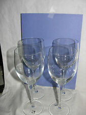 "SET OF 4 LUIGI BORMIOLI CRYSTAL WINE CHAMPAGNE GLASSES 9"" LIGHT & MUSIC ITALY"