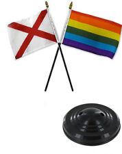 "State Alabama & Rainbow Gay 4""x6"" Flag Desk Set Table Stick  Black Base"