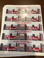 "Firefighter Birthday Water Bottle Labels - 4th Birthday - name: ""MASON"""