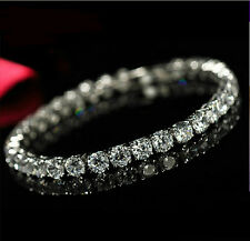 Round Cut Genuine White Diamond Fire Topaz Gemstone Silver Charming Bracelet