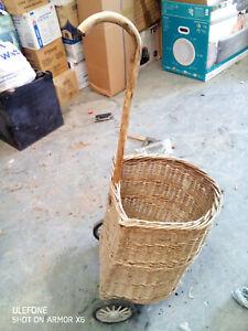 Vintage Wicker Basket Shopping Trolley with wheels