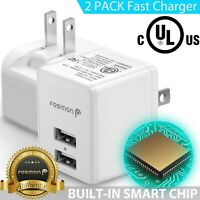 2x Fast Dual USB Wall Charger Plug Adapter for Samsung Galaxy S10 iPhone XS 8 7