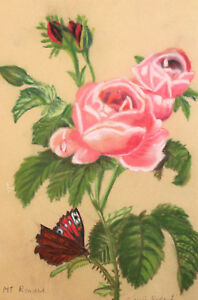 Floral Pastel Painting Still life with roses and butterfly signed