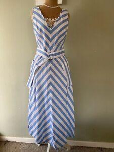 """Kate Spade """"Deck Stripe"""" Blue & White Cotton Linen Midi Dress UK 8 Wears 10"""