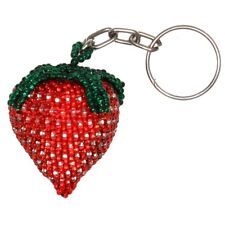 Strawberry Red Key Chain Ring Holder Glass Artisan Beads Lot Wholesale Six Pack