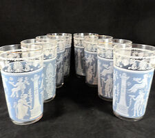 8 Hazel Atlas Gay Wedgwood Blue Vintage Greek/Roman Glasses Mid Century 1960's