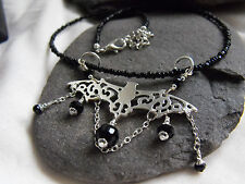 Ethnic style BLACK glass beads choker necklace VAMPIRE BAT charm GOTH wicca