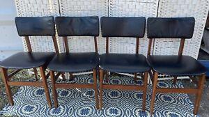 Vintage, Retro,Danish, Teak. Black Vinyl Dining Chairs,