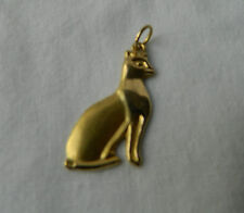 "Egyptian Pharaoh Bastet Cat 18K Yellow Gold Pendant 1.1"" X 0.6"""