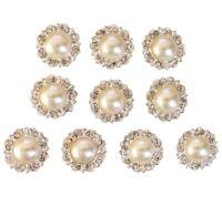 10 Antique Ivory Pearl and Diamante Round Flat Back Embellishments Rhinestones