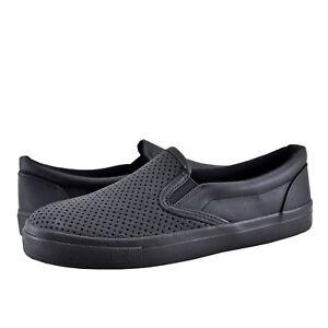 Women's Shoes Soda Tracer-MG Faux Vegan Leather Slip On Sneaker All Black *New*