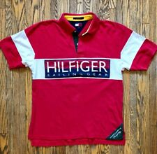110ccef0b13e7 Vtg Tommy Hilfiger Sailing Gear Polo Large 90s Retro Big Logo Flag Hip Hop  1990s