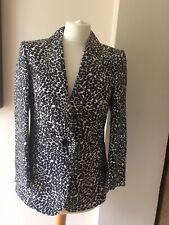 Hobbs Silk Black, White Animal Print Jacket Size 10