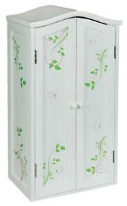 NEW! White Butterfly Laurent Wooden 18 In Doll Wardrobe, Fits American Girl Doll