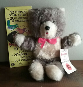 German Singing Teddy Bear with Mini removable Record Player and 10  Records - B