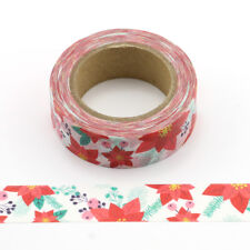 Christmas Red Poinsettia Washi Masking Paper Tape 15mm x 10 Metre Roll