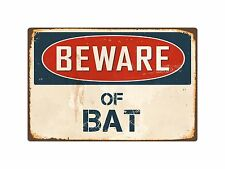 "Beware Of Bat 8"" x 12"" Vintage Aluminum Retro Metal Sign VS039"
