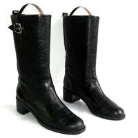 GIANVITO ROSSI - Bottes boots motardes cuir veau noir 41 / 680 € - TRES BON ETAT