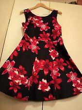 SALE stella black red hibiscus dress