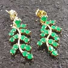 18K Gold Filled Stylish Italian Emerald Gemstones 18ct GF Dangle Earrings 35mm
